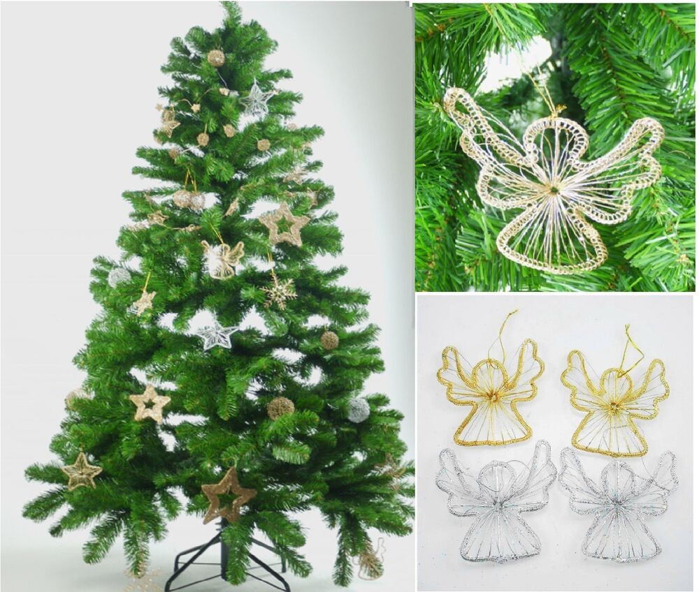 Golden silver christmas xmas tree hanging angel hanging for Angel christmas tree decoration