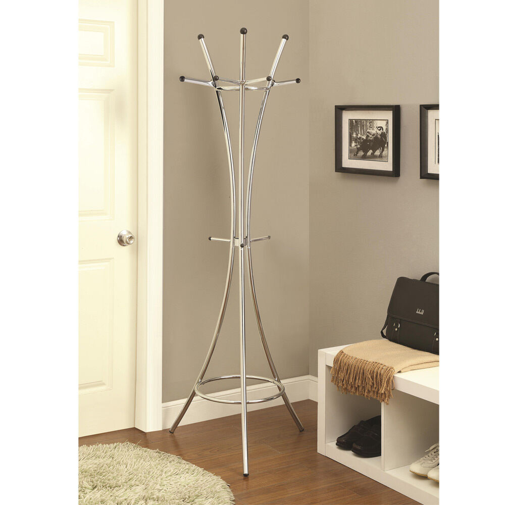 Modern Contemporary Hallway Chrome Coat Rack Curved Lines