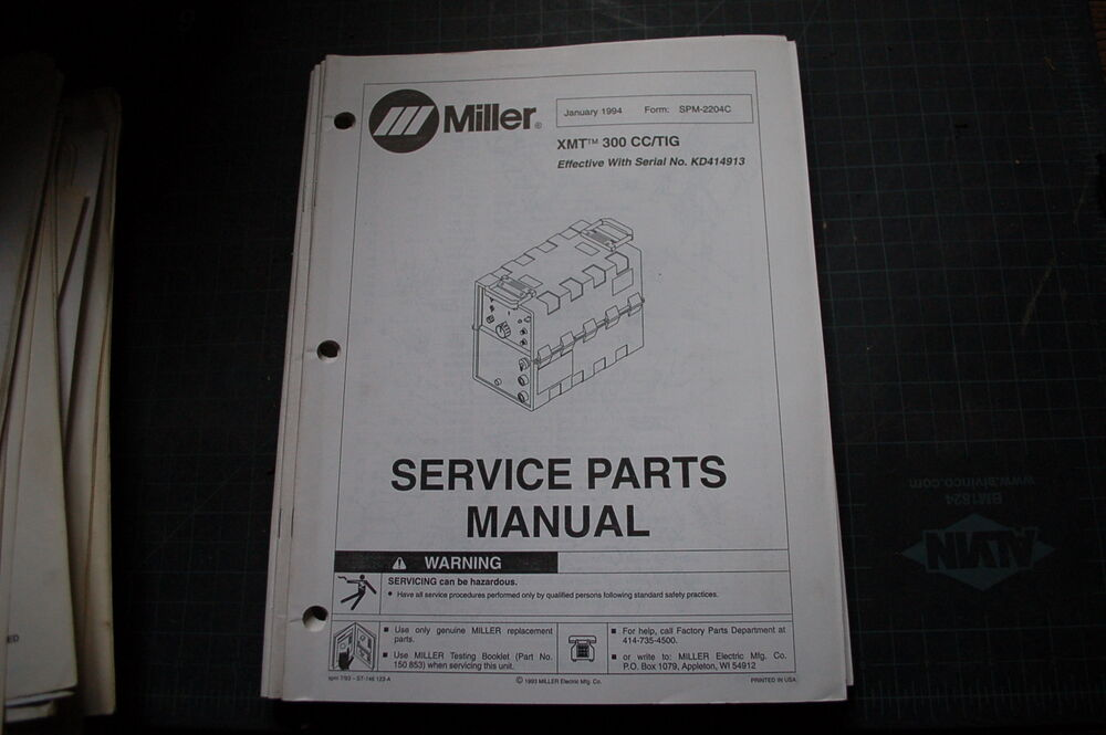 Miller Welder Xmt 300 Cc Tig Generator Owner Parts Manual Book Catalog Spare
