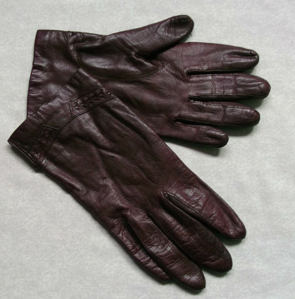 VINTAGE WOMENS LEATHER GLOVES BURGUNDY SILK LINED 1970'S ...