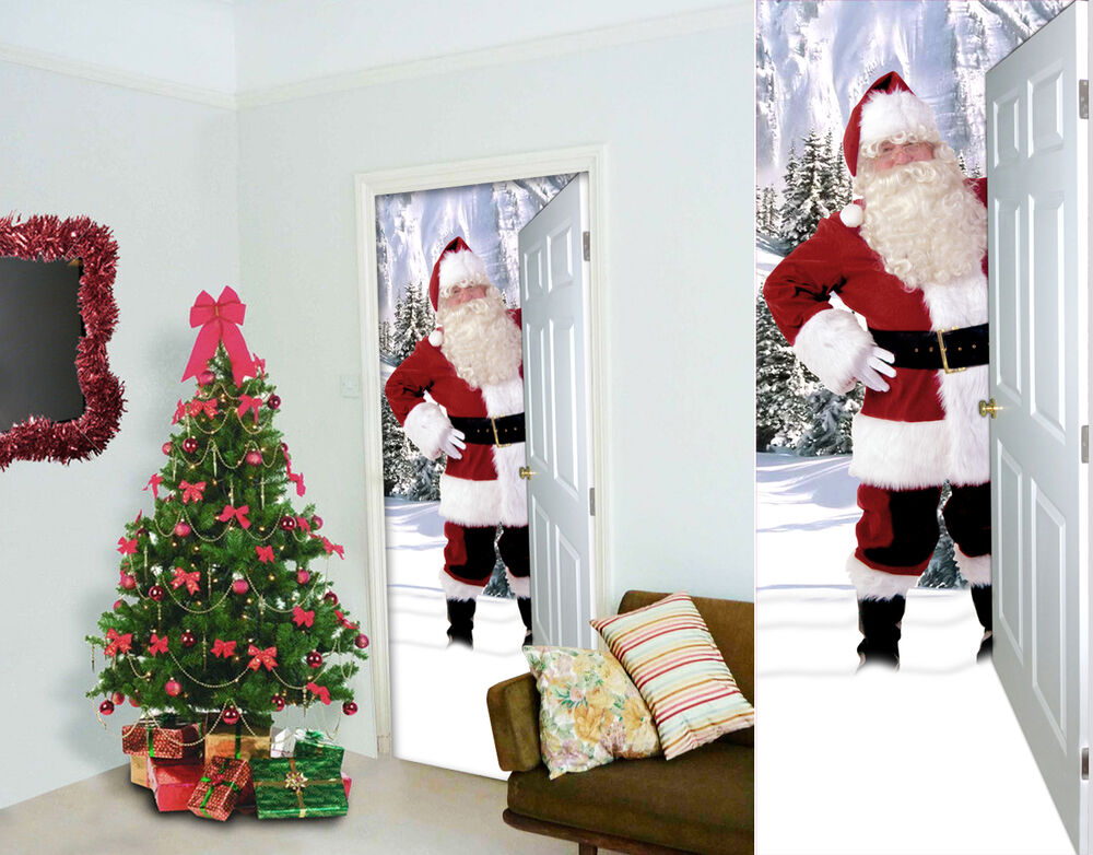 Large 3d santa fabric door banner interior poster xmas for Poster decoratif
