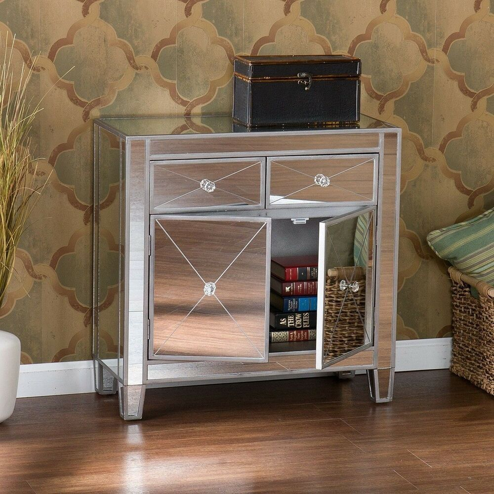 Mirrored Cabinet: Glam Mirrored Dresser Bedroom Chest Drawers Furniture