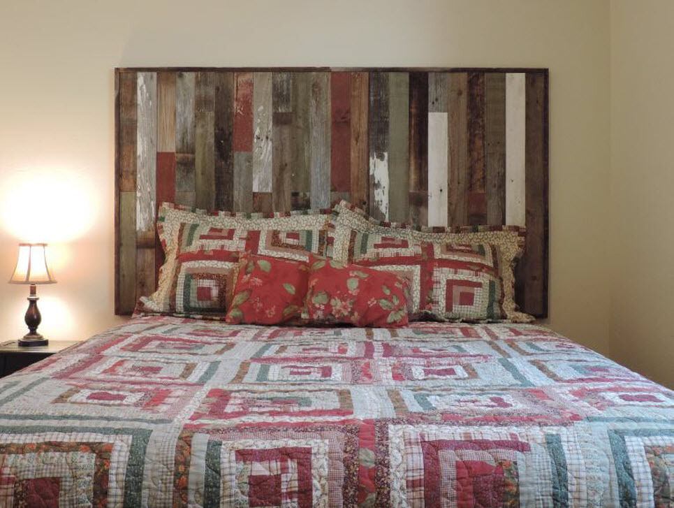 Rustic reclaimed barn wood wall mounted country headboard Wall mounted queen headboard
