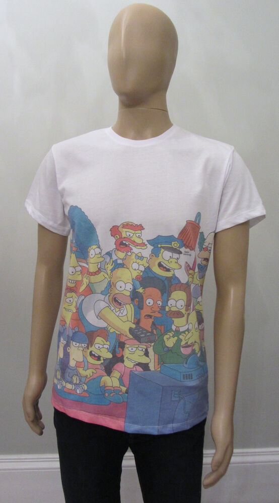 Primark official mens cast of the simpsons t shirt ebay for Simpsons t shirts online