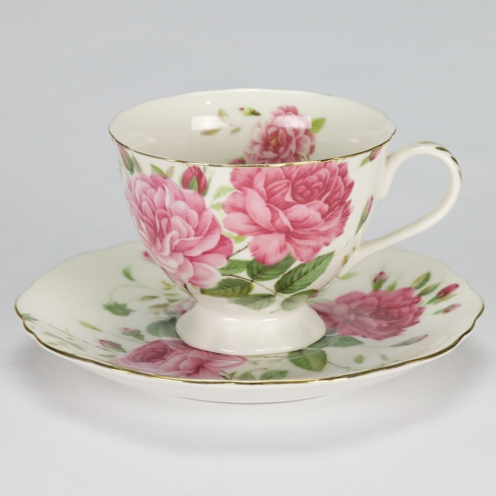 new vintage shabby chic style tea set cup saucer rose high. Black Bedroom Furniture Sets. Home Design Ideas