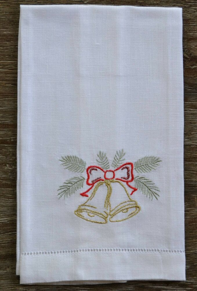 Sferra Bells Embroidered Christmas Holiday Linen Guest