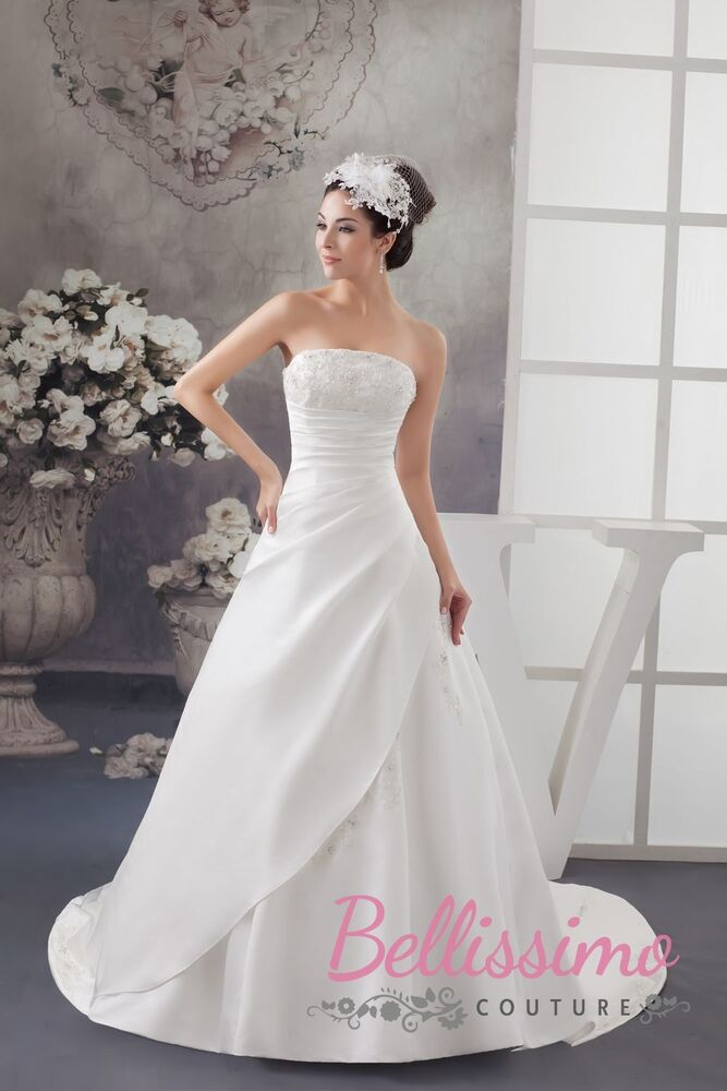 Satin wedding dress bridal gown size 18 20 22 24 26 28 for Ebay wedding dresses size 18 uk