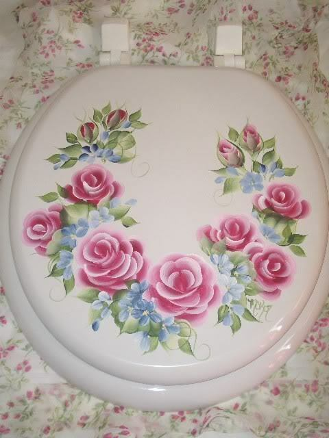 new hp toilet seat shabby burgundy rose cottage chic ebay. Black Bedroom Furniture Sets. Home Design Ideas