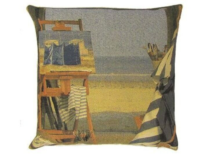 plage peinture bord de mer coussin tiss tapisserie belge belgique coton ebay. Black Bedroom Furniture Sets. Home Design Ideas