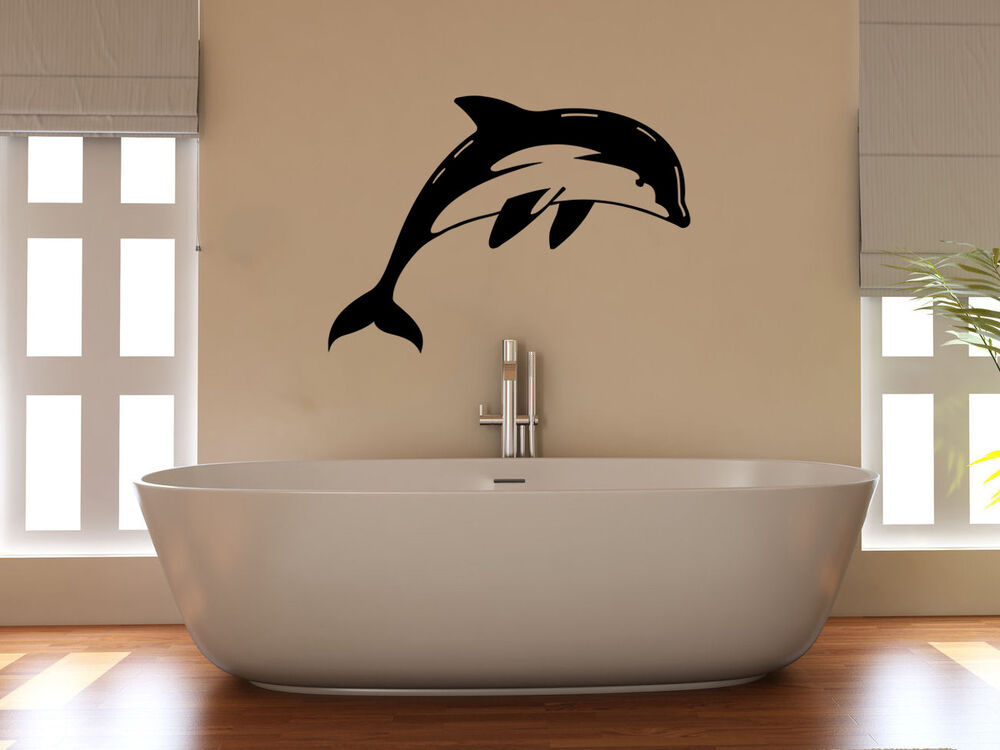 dolphin splash, bath, bathroom, shower room, decal wall art sticker