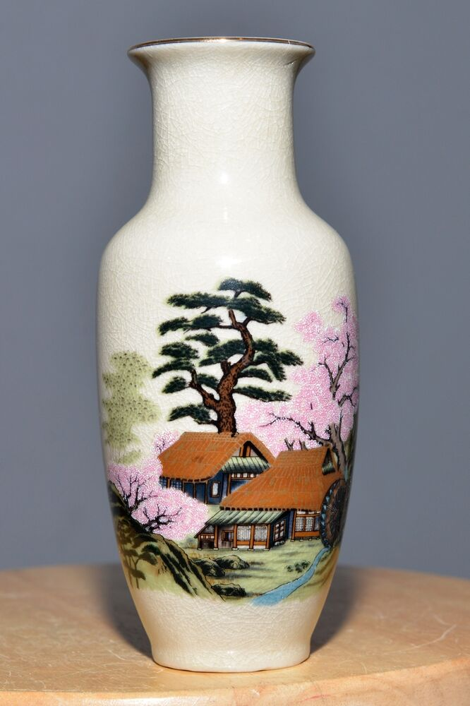Antique Japan Pottery Hand Painted Vase Ceramic Asain Gold