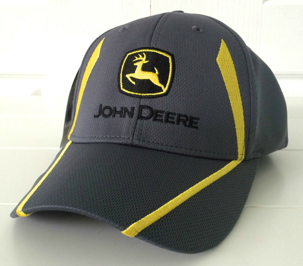 John Deere Gray Fabric Hat Cap W Cool Yellow Embroidered