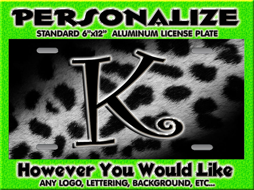 Leopard CHEETAH Grey Blk Print Background PERSONALIZED