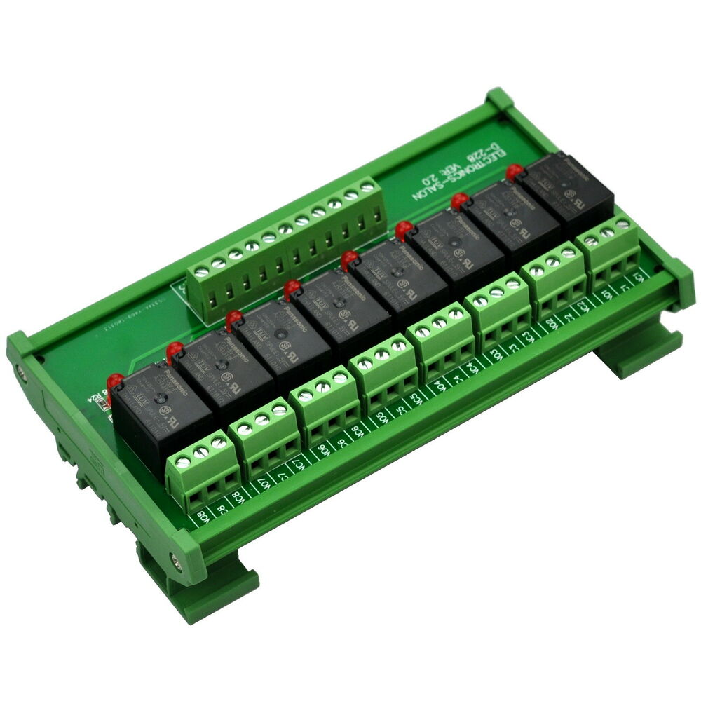 Din Rail Mount 8 Spdt Power Relay Interface Module Omron