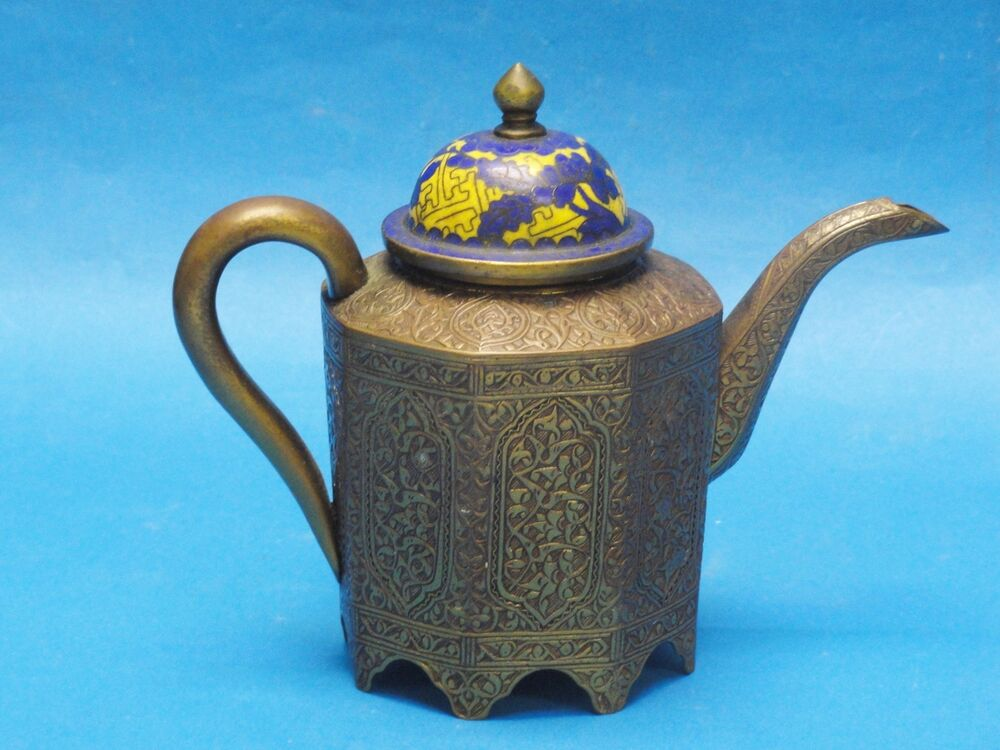 ANTIQUE EARLY 20 c CHINESE CLOISONNE & CHASED BRASS TEAPOT ...