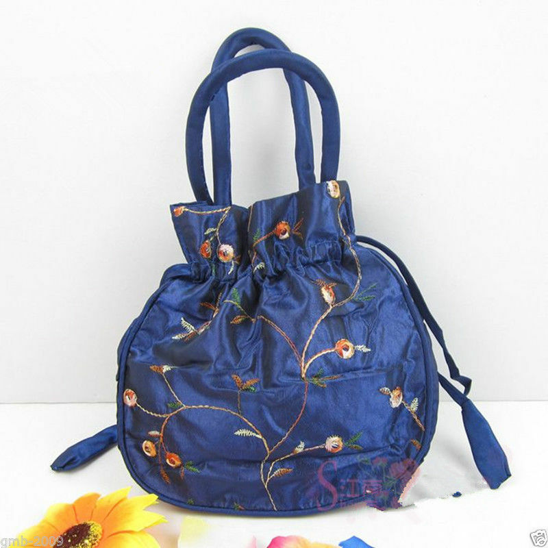 New Navy Blue Embroidered Flower Silk Satin Purse Jewelry Bag Gift Handbag | EBay