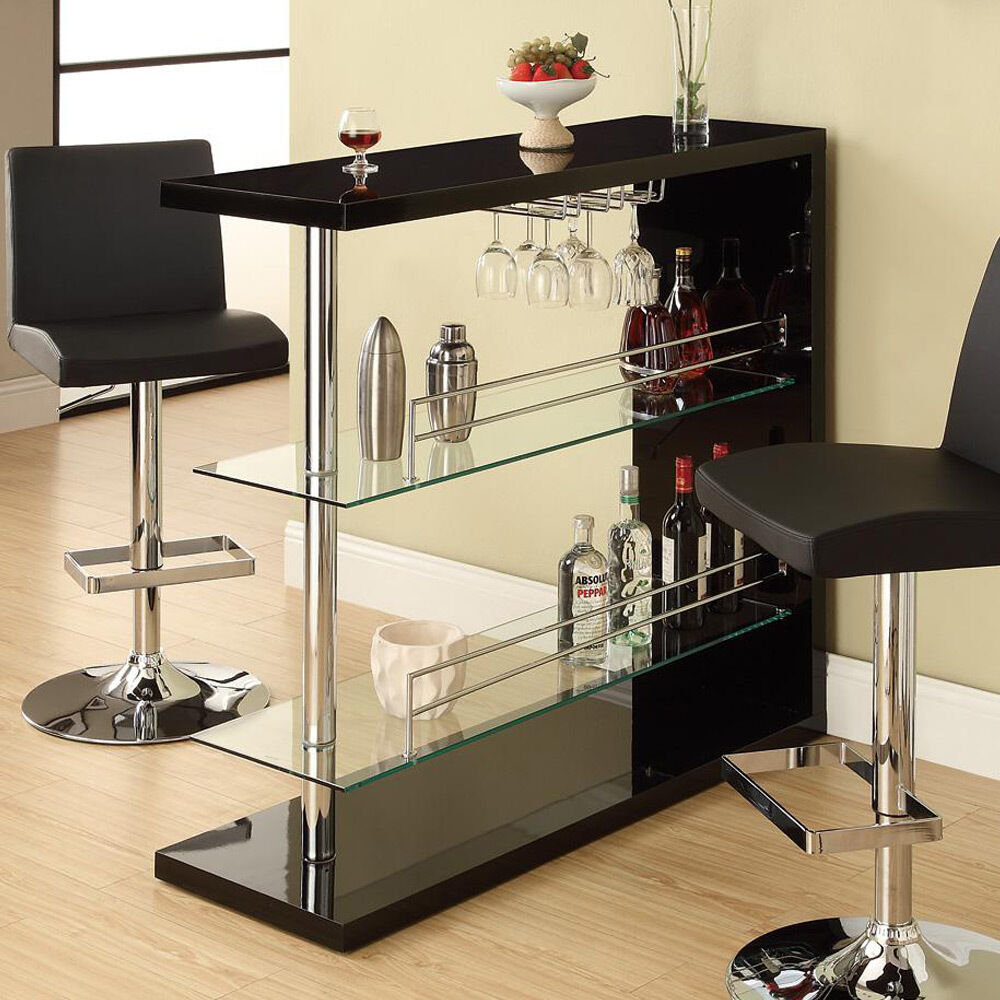 Kitchen Breakfast Bar Pole: Modern Pub Home Bar Table Unit W/ Glass Shelves Wine Rack