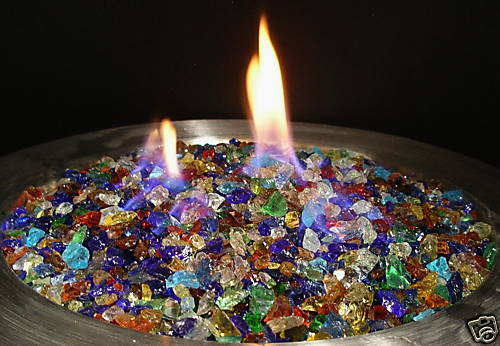 10Lbs RAINBOW MIX FIREGLASS Fireplace Fire Pit Glass