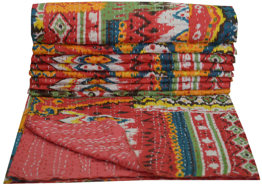 Red Kantha Quilt Indian Handmade Bedspread Throw Cotton