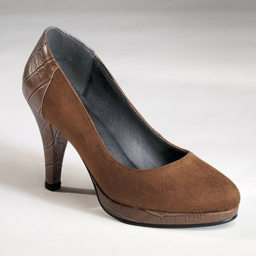 NEW WOMENS RUST COLORED CROC BACK PUMP SHOES by MONROE ...