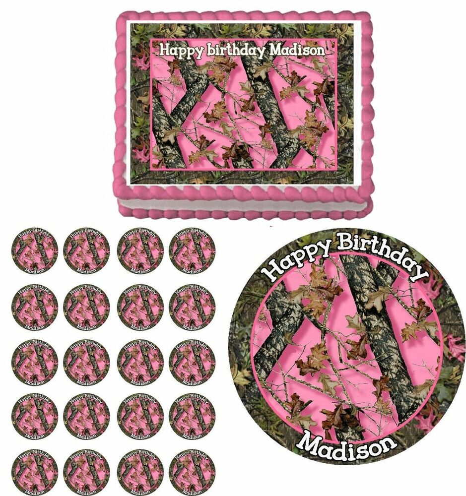 Next camo pink camouflage edible birthday cake cupcake for Pink camo decorations
