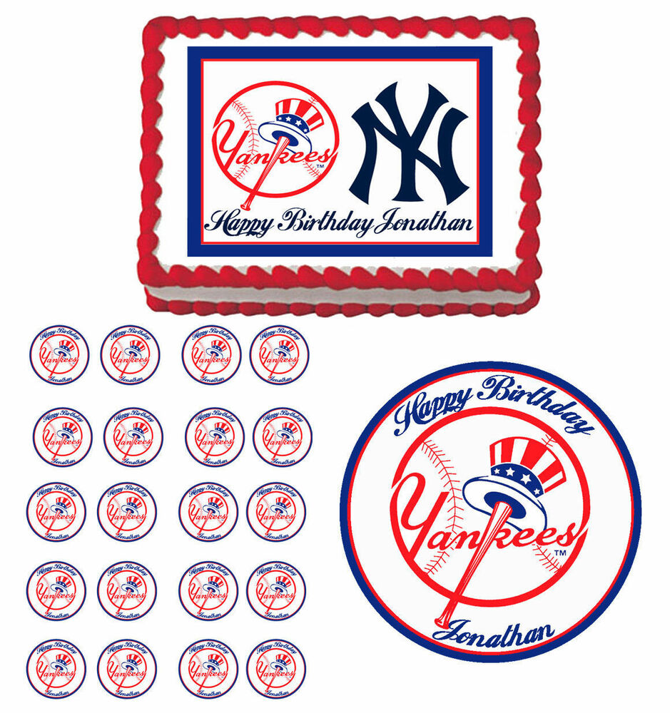 New York Yankees Edible Birthday Cake Cupcake Toppers ...