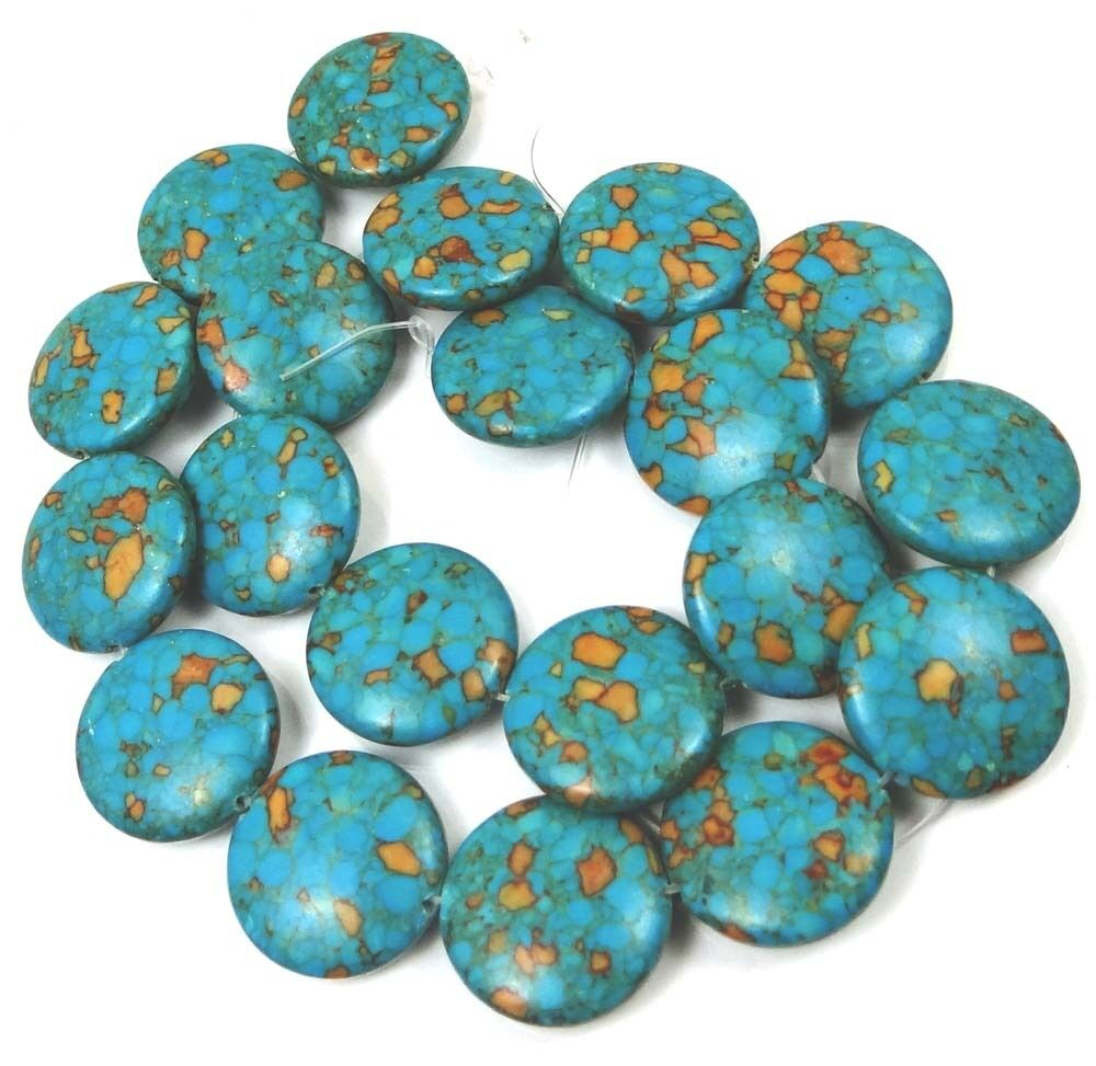20mm Blue Mosaic Turquoise Disc Coin Beads 16 Ebay