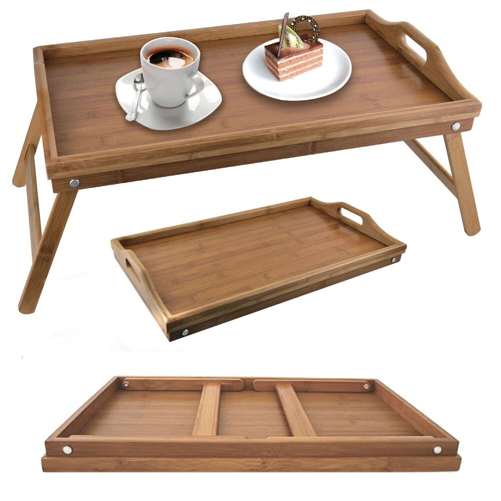 Bamboo folding breakfast lap tray over bed wood table