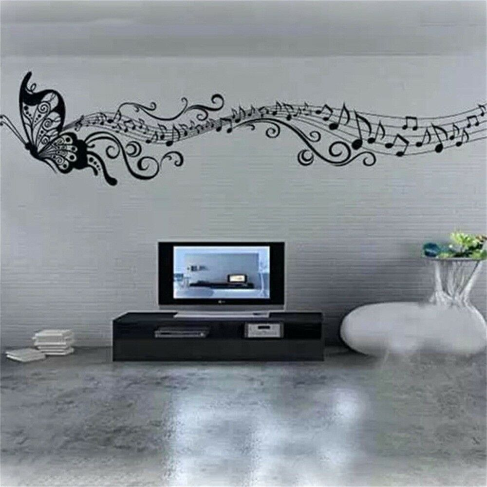 Art Mural Home Decor Wall Room Butterfly Music Notes
