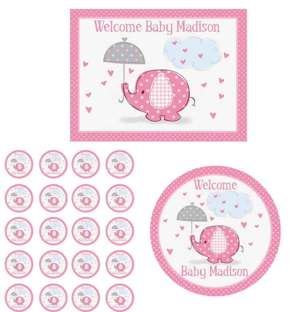 pink elephant edible baby shower cake cupcake topper party decoration