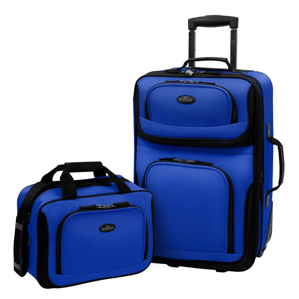 Us traveler carry on rio 2 piece blue rolling luggage How to pack a carry on suitcase video