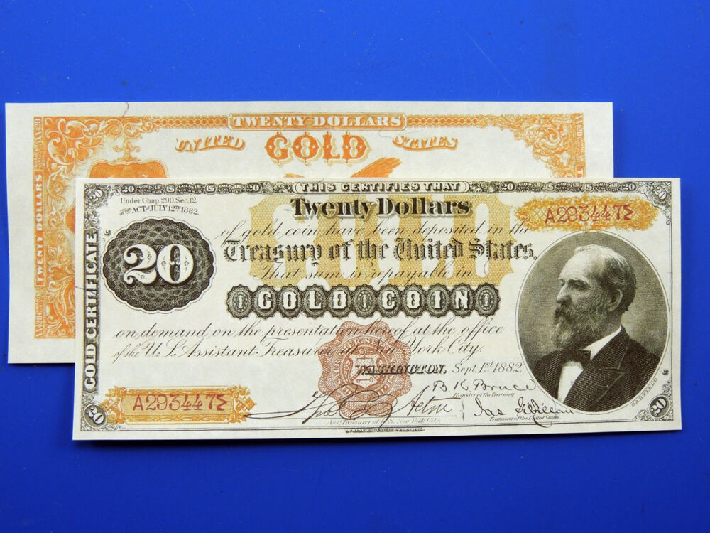 Reproduction 20 1882 Gold Certificate Note Us Paper Money