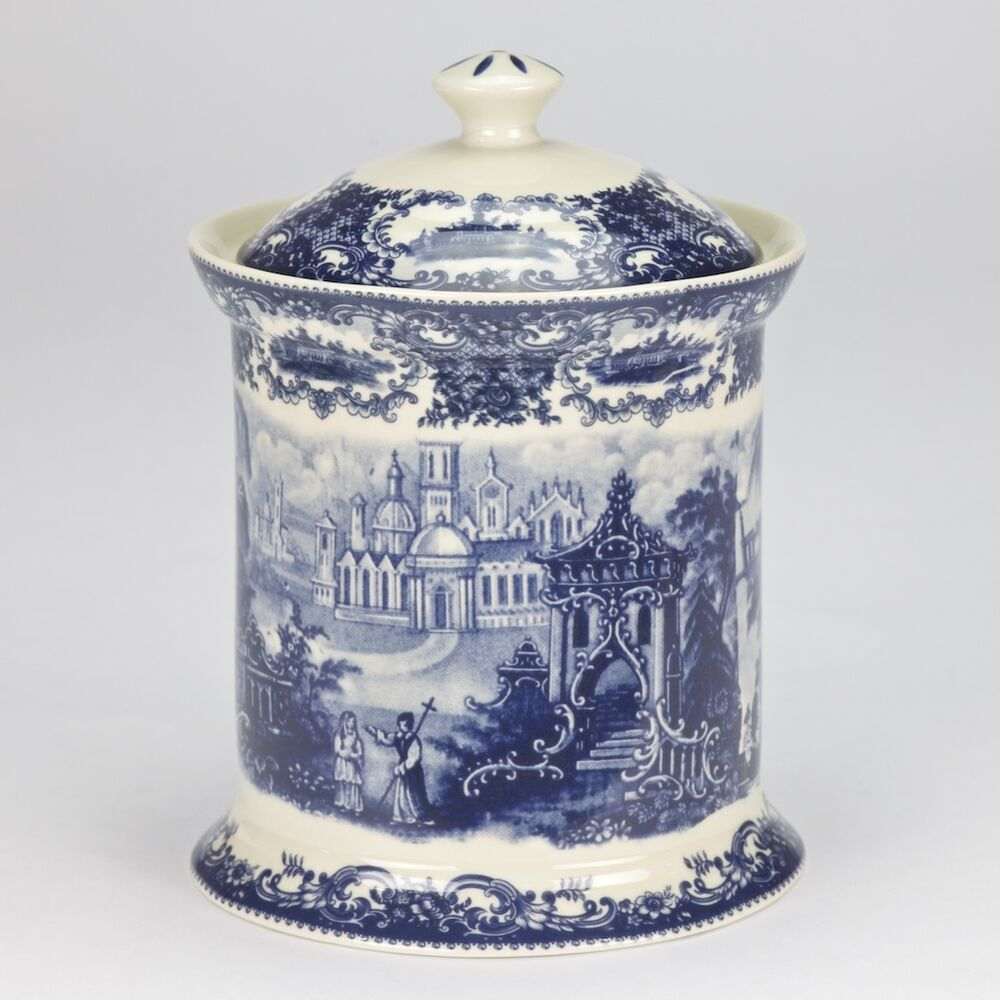 Antique Vintage Style Porcelain Blue White Canister