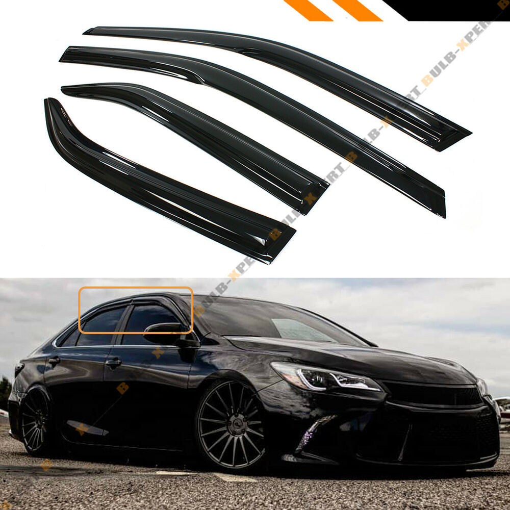 mugen 3d style smoked window visor vent shade for 2012 2014 toyota camry le se ebay. Black Bedroom Furniture Sets. Home Design Ideas