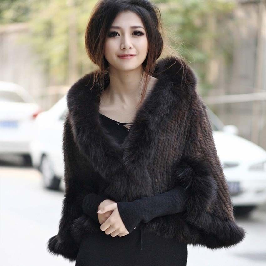 100 real genuine knitted mink fur fox collar cape stole shawl coat p0001 ebay - Polsterstoffe fur stuhle ...