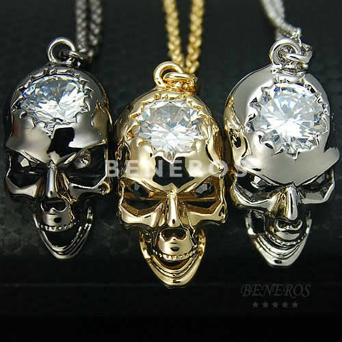 Small Glossy Skull Head Cz Pendant Necklace Mens Unisex