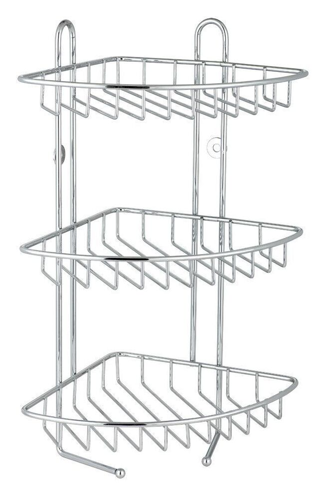 3 tier stainless steel corner shower caddy bathroom rack - Bathroom shelves stainless steel ...