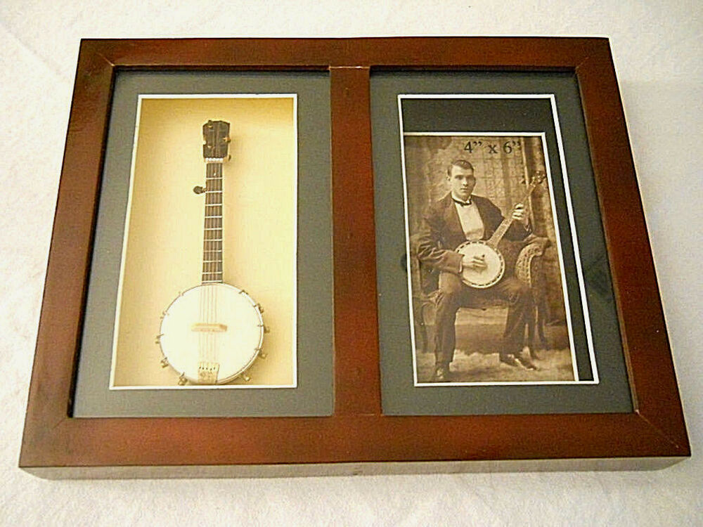musicians shadow box photo frame banjo wall hanging or stand up easel new ebay. Black Bedroom Furniture Sets. Home Design Ideas