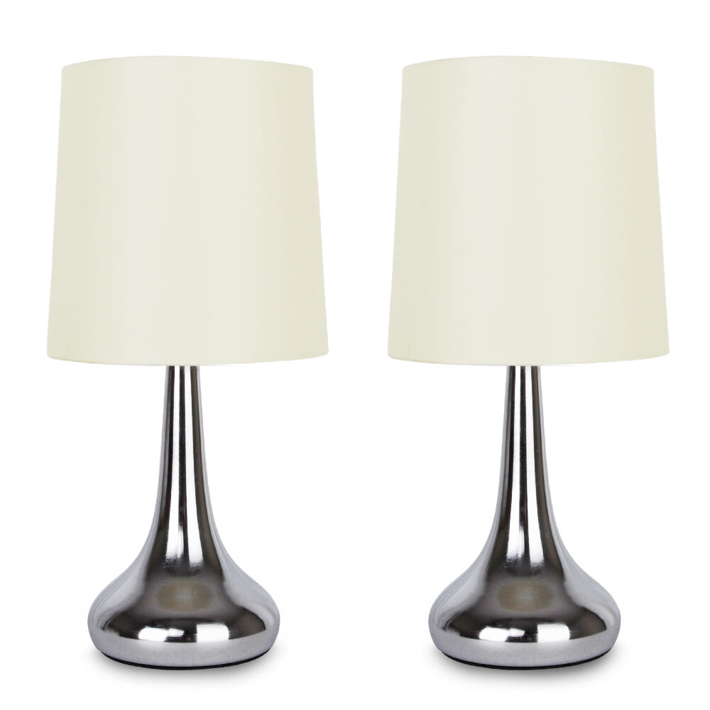 pair of tall modern chrome touch bedside table lamps cream. Black Bedroom Furniture Sets. Home Design Ideas