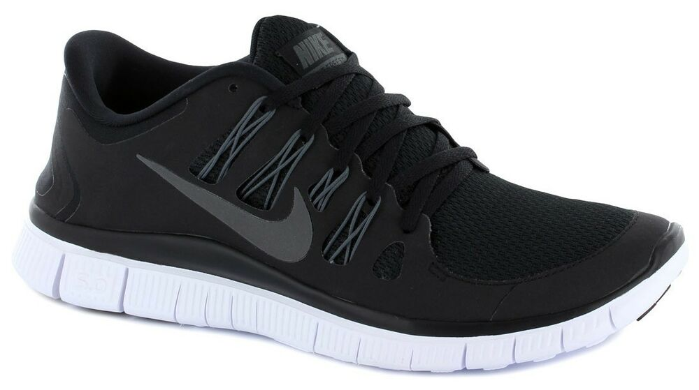 Nike Free 5.0 + Mens Running Shoes Black White Metallic ...