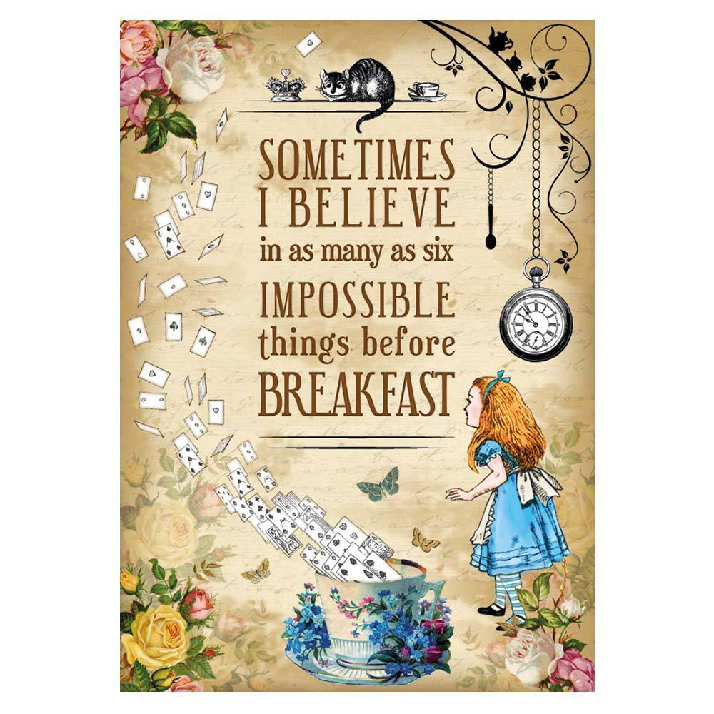 Alice In Wonderland Quote Alice In Wonderland Party  Mad Hatter Tea Party Vintage A4 Art
