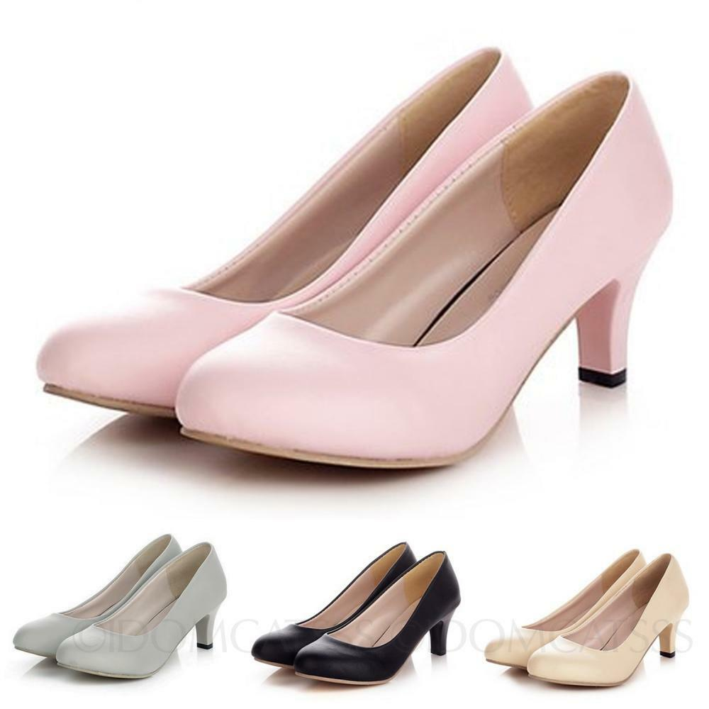 Classic Ladies Summer Fashion Kitten High Heels Womens Pumps Court Shoes Size Ebay