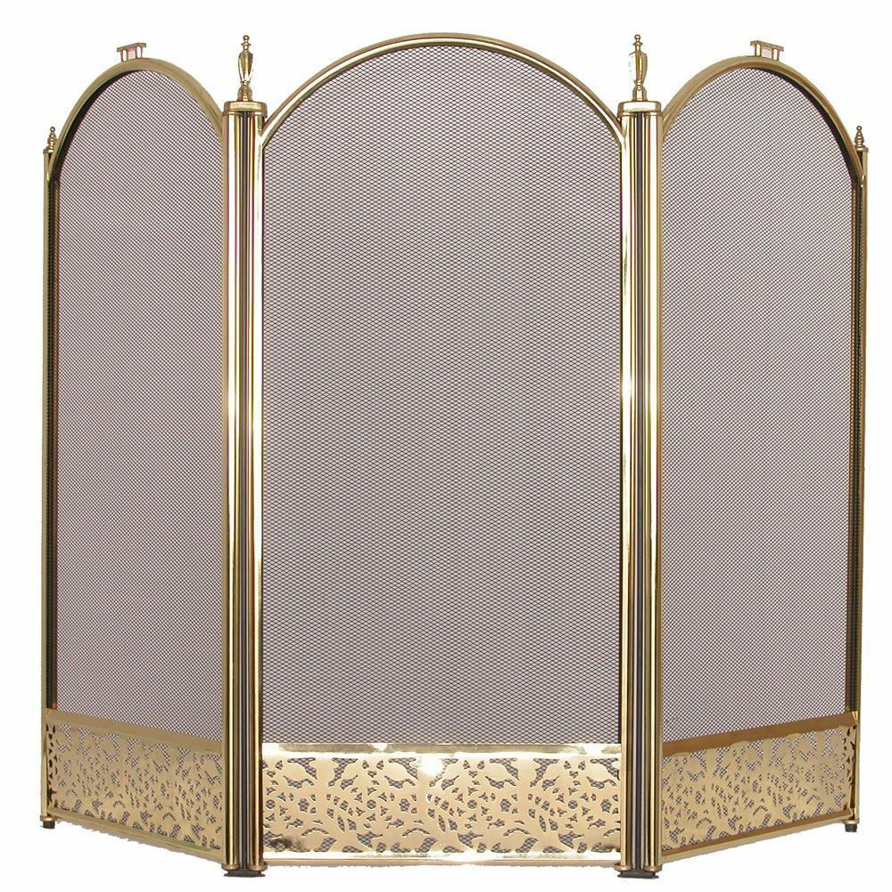 Fire Screen Brass Fireside Fireplace Safety Guard Folding New By Home Discount Ebay
