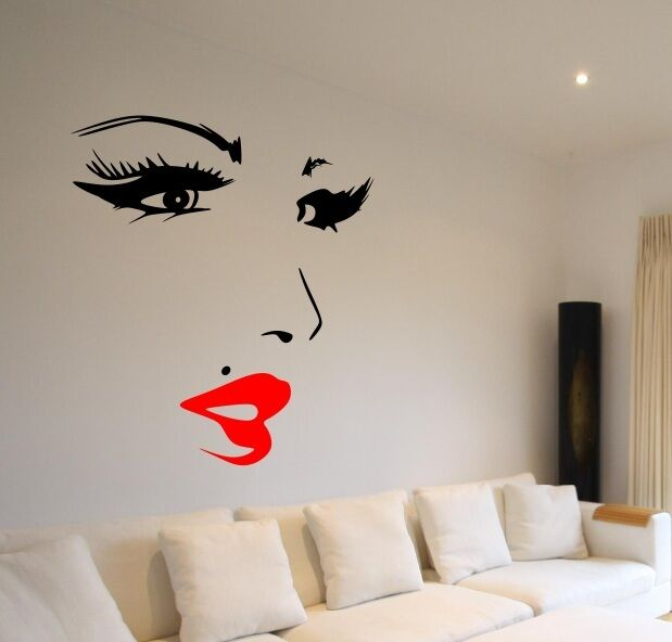 Wall Art Stickers Eyes : Amazing face eyes lips nose wall art custom vinyl decals