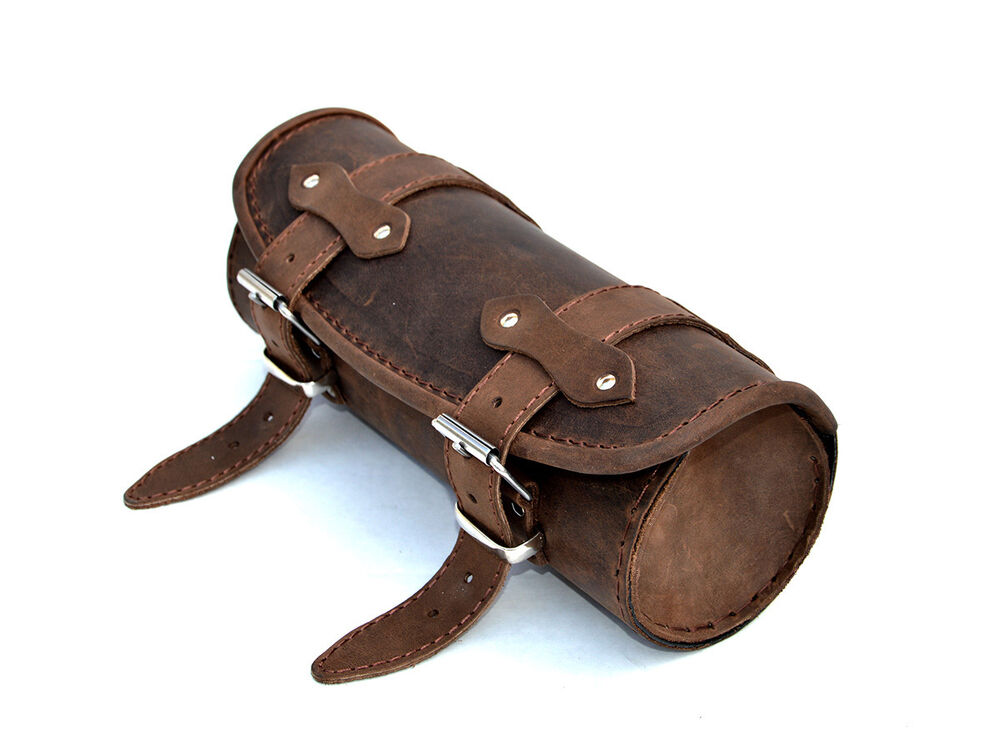 Top Brown Leather Pouch Tool Roll Bag Yamaha Dragstar