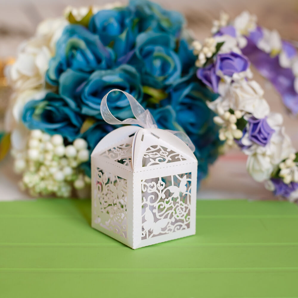 50x Butterfly Laser Cut Candy Gift Boxes Wedding Favors Sweets Boxes W Ribbon