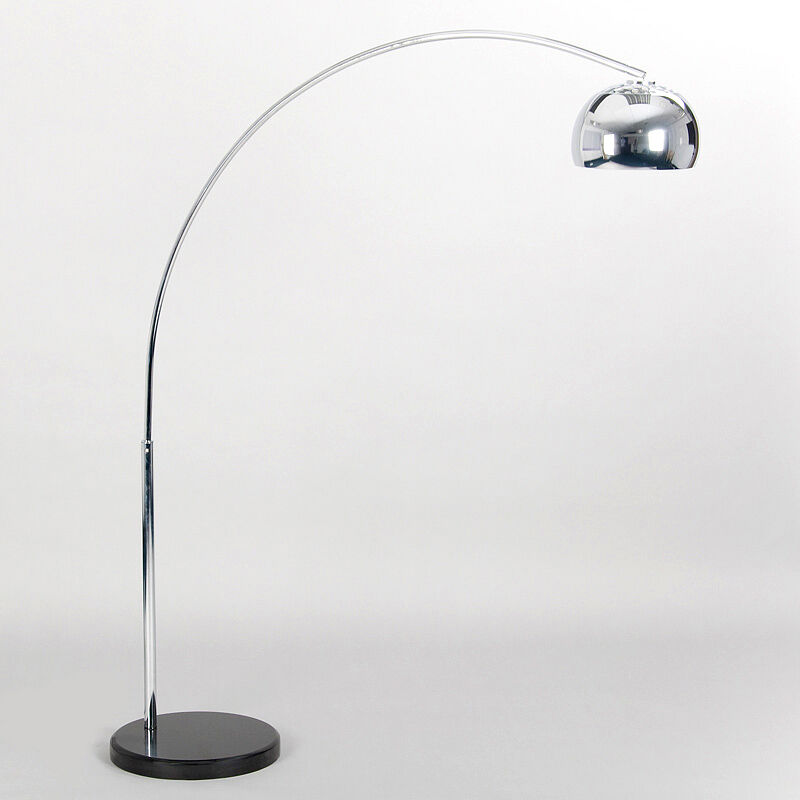 Retro style silver chrome black marble base arco style for Floor lamp with silver base