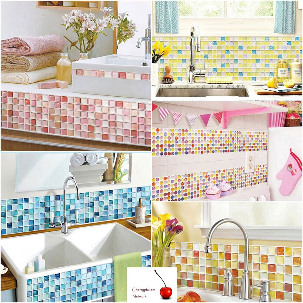 Wallpaper Tiles For Kitchen: Bathroom Kitchen Wall Decor 3D Stickers Backsplash