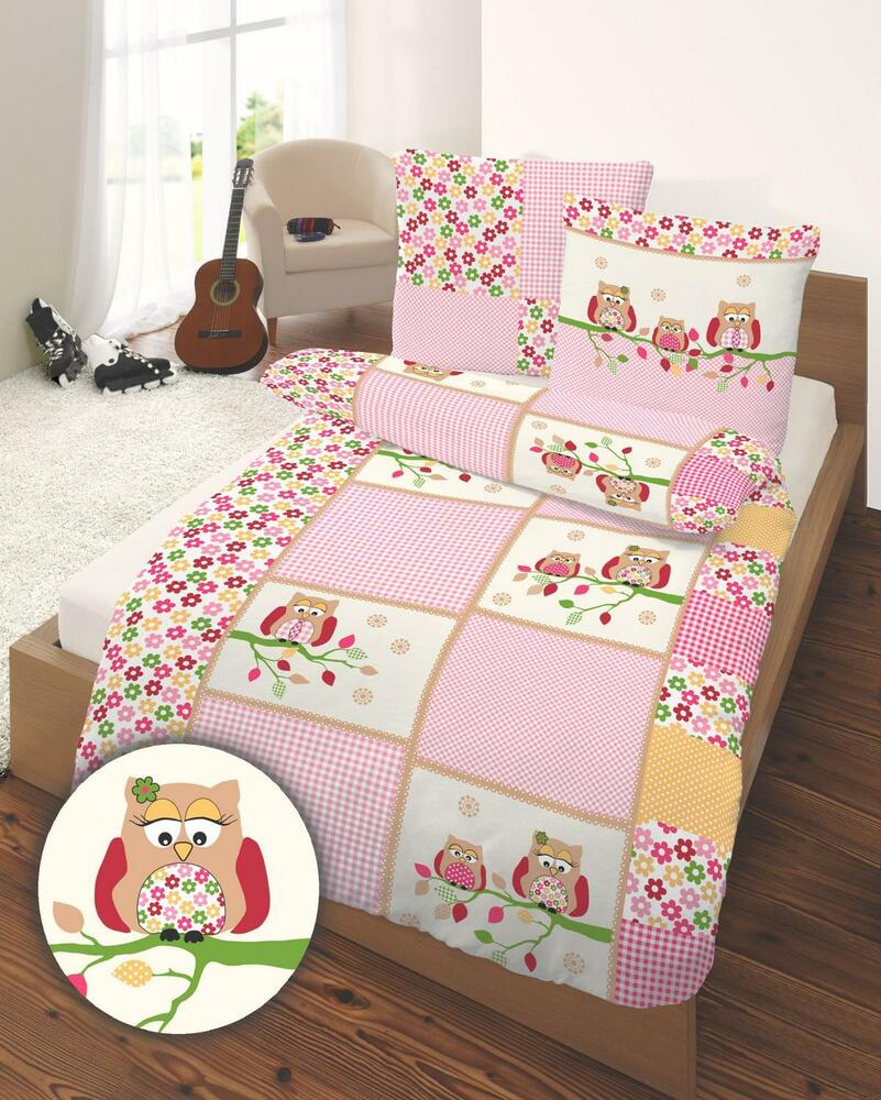 bettw sche 135x200 cm eule owl rosa 47823 biber ebay. Black Bedroom Furniture Sets. Home Design Ideas