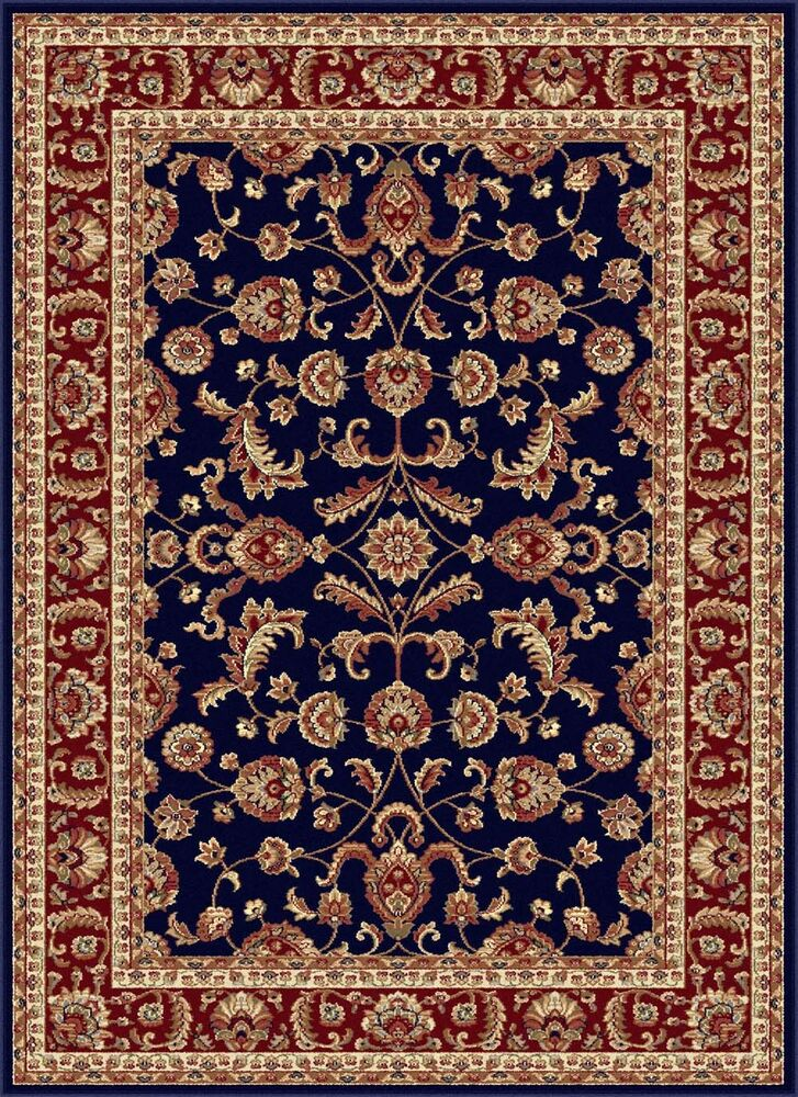 Navy Blue Traditional Oriental Bordered Area Rug Multi